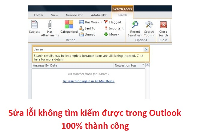 """Cách sửa lỗi Outlook """"Search results may be incomplete because items are still being indexed"""" -"""