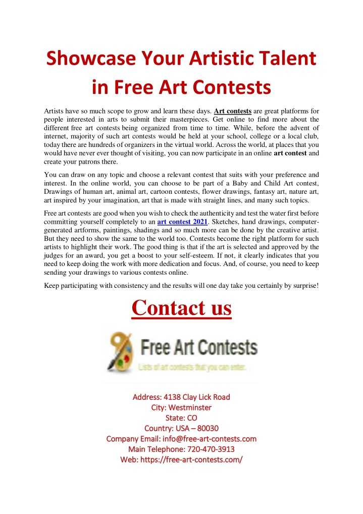 PPT - Showcase Your Artistic Talent in Free Art Contests PowerPoint Presentation - ID:10151289