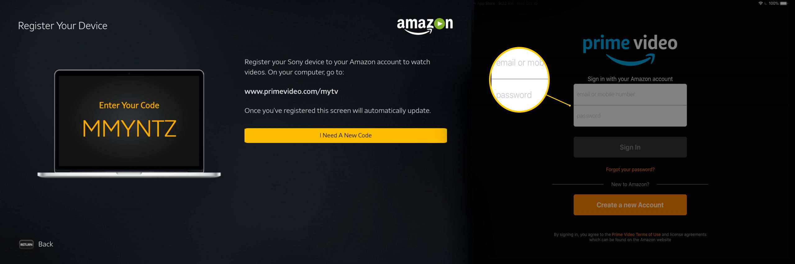 Amazon.com/mytv - Enter Code Here to Activate Amazon Prime Tv