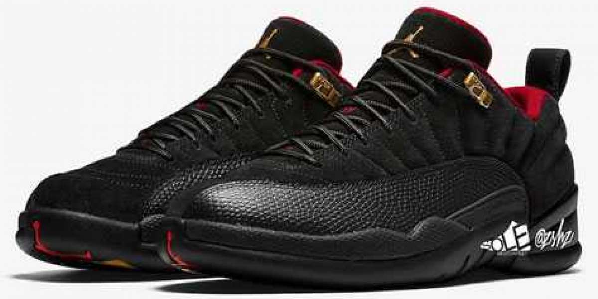 DC1059-001 Aj 12 Low SE Black/Metallic Gold-Varsity Red Shoes