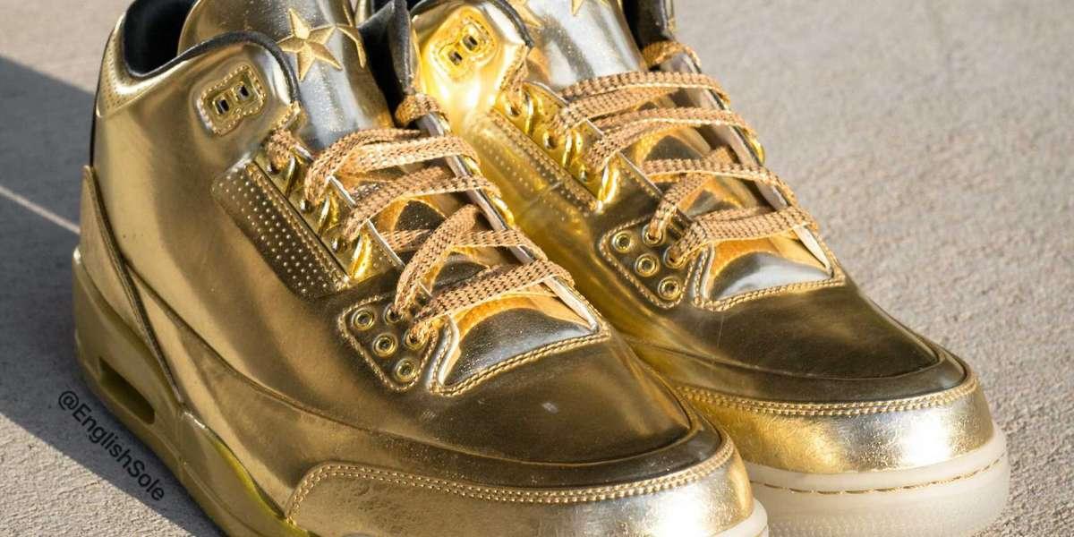 "Brand New Usher's Air Jordan 3 ""Gold"" PE Basketball Shoes"
