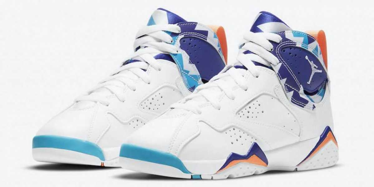 "2021 Latest Air Jordan 7 GS ""Chlorine Blue"" Basketball Shoes 442960-100"