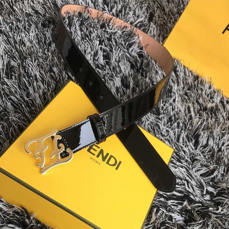 Fendi FF Karligraphy Bucket Belt In Patent Leather Black