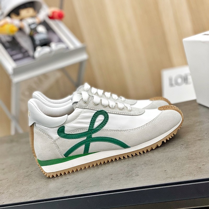 Loewe Ballet Runner Sneaker Women Nylon and Calfskin In Grey/Green