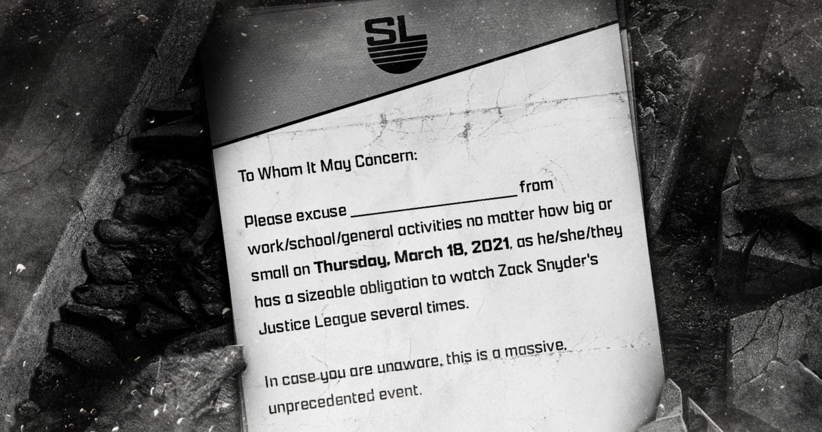 Zack Snyder Passes Fans a Doctor's Note to Stay Home and Watch the Snyder Cut - Fry Electronics
