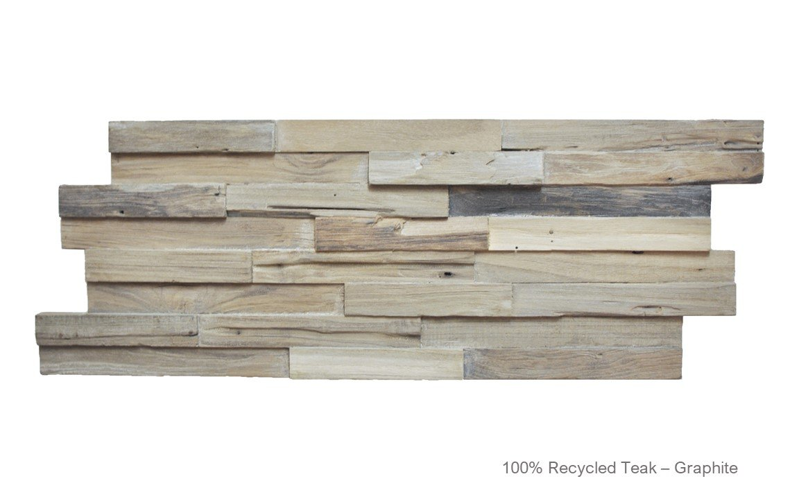 Recycled 3D Teakwood Wall Panels - Graphite