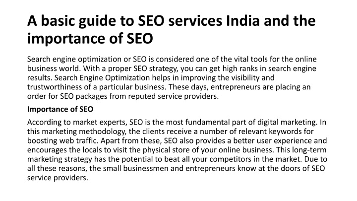 PPT - A basic guide to SEO services India and the importance of SEO PowerPoint Presentation - ID:10560334
