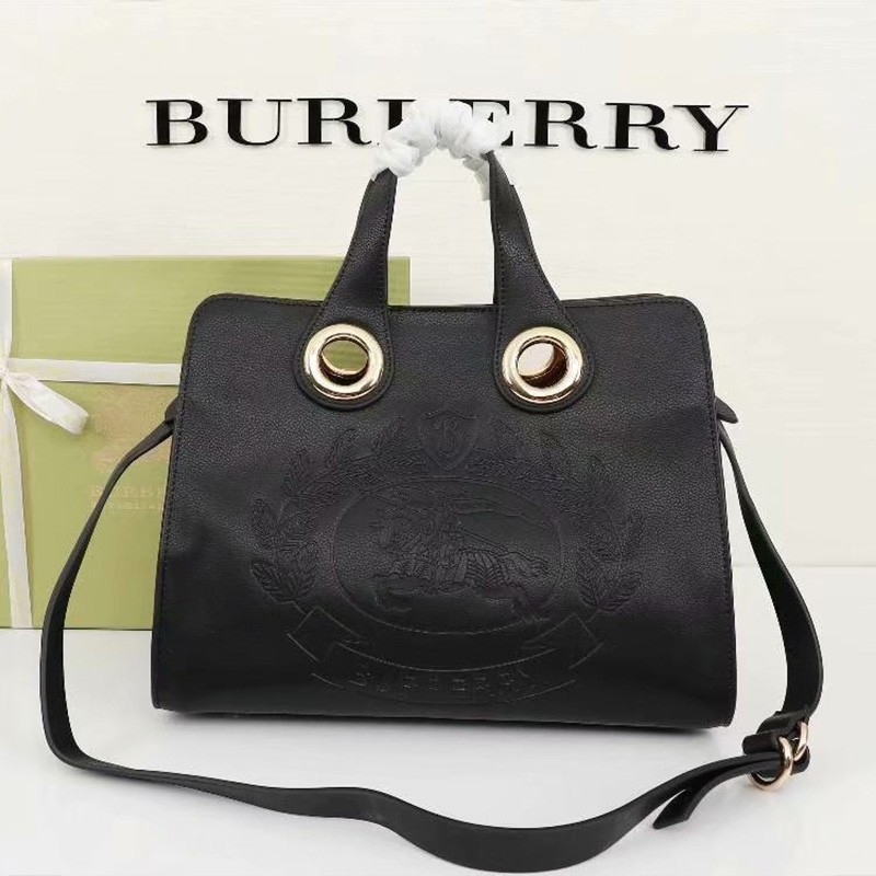 Burberry Leather Crest Grommet Detail Tote In Black