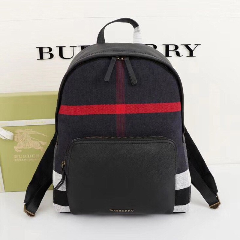 Burberry Abbeydale House Check And Leather Backpack In Navy Blue
