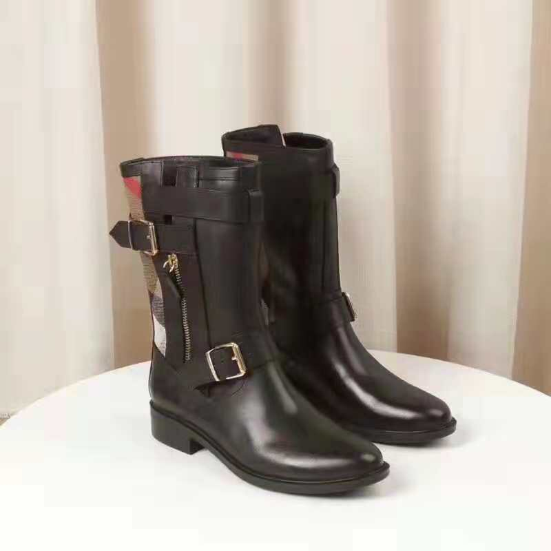 Burberry Grantville Check And Leather Moto Boots In Black