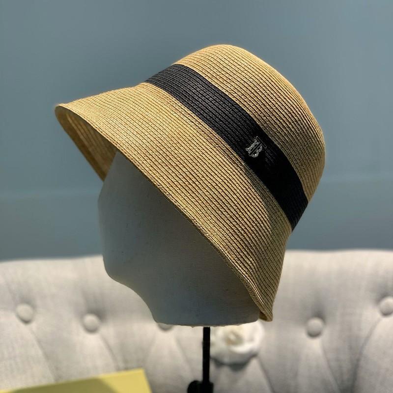 Burberry Two-tone Straw Hat Black/Camel