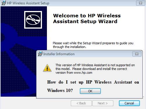 How do I set up HP Wireless Assistant on Windows 10?